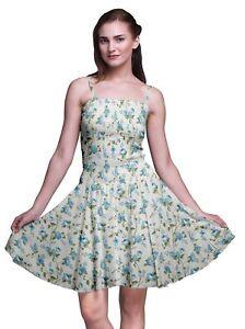 bleu clair Bimba floral bretelles spaghetti imprimées robe