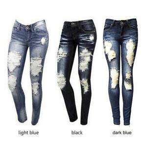 Jeans-da-donna-Jeans-strappati-skinny-elasticizzati-Pantaloni-jeans-a-vita-alta