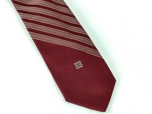 Givenchy-Gentlemen-Paris-Men-Neck-Tie-Burgundy-Diagonal-Stripes-55x3-Polyester