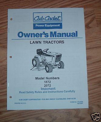 Cub Cadet Owners Manual Model No 1872-2072