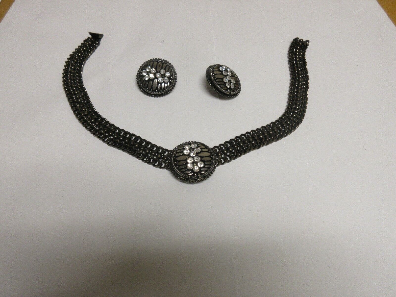 Costume Jewelry ,Vintage , Black Necklace & Earrings