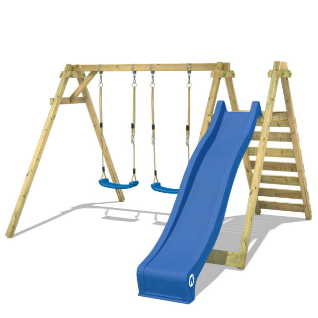 Wickey Smart Swift Wooden Double Swing With Slide for Kids Outdoor Garden
