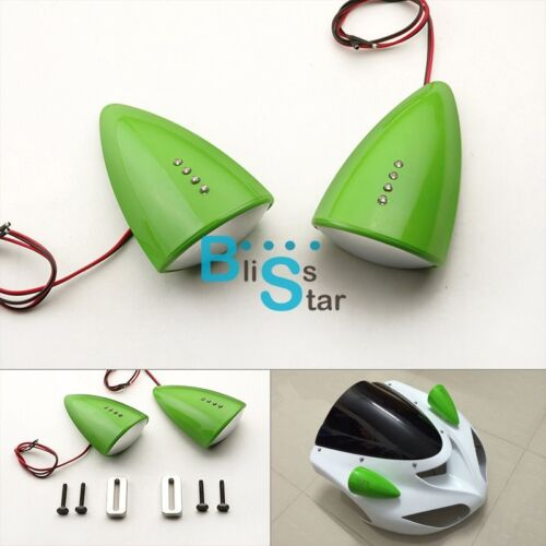 Green Custom LED Mirrors Turn Signals Fit Kawasaki ZX-10R 2008-2010 BS1