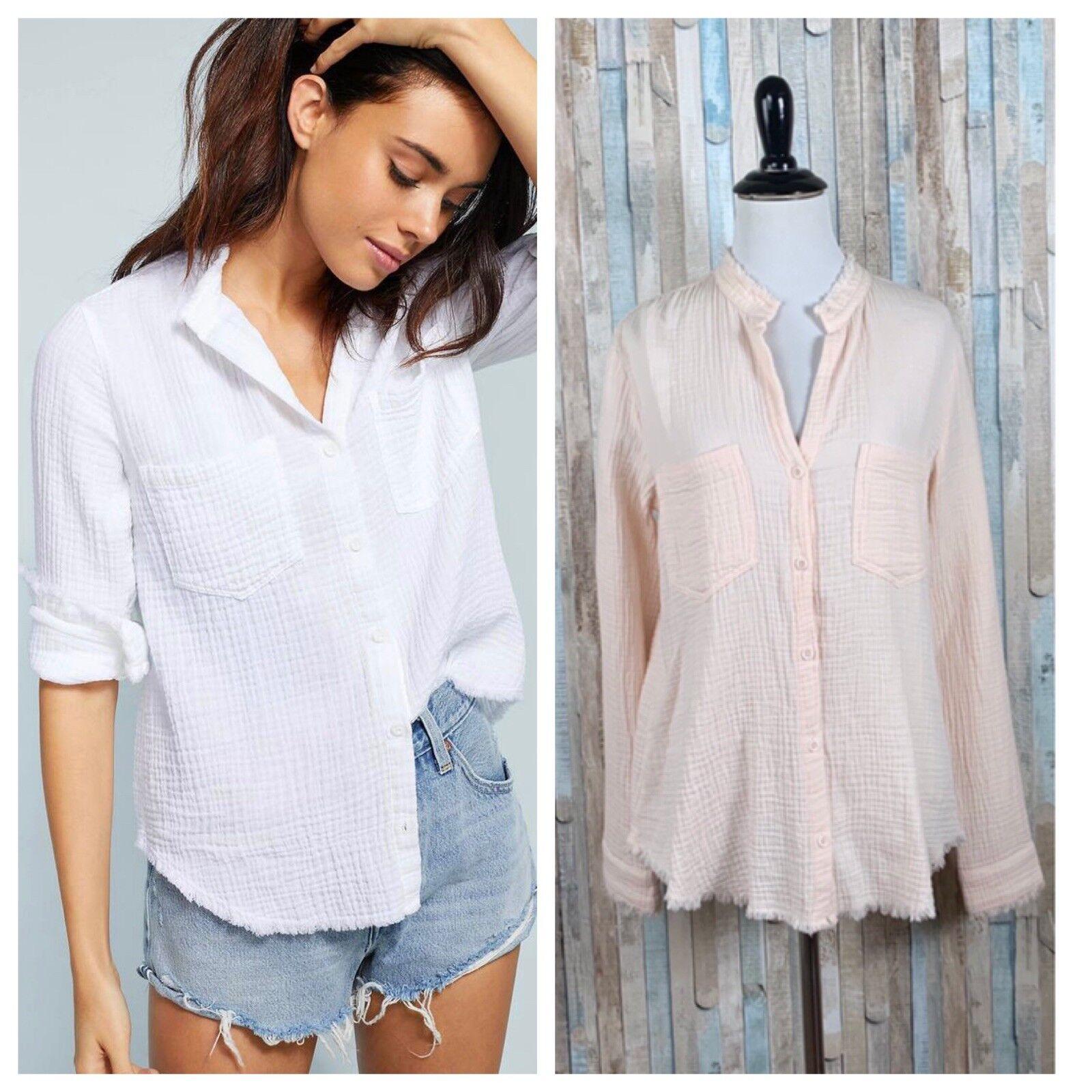f1b564ba198f Anthropologie XS Cloth Stone Pink Buttondown Top Fringe Crinkled Riley  Shirt nnzwqb21390-Tops & Shirts