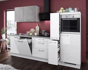 Einbauküche MANKAGLOSS 1 in Weiß Hochglanz / Beton Küchenzeile 280 ...