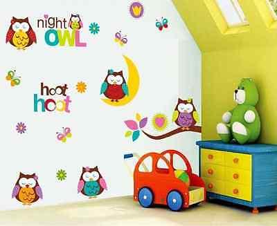 Colourful Night Owls Nursery Room Home Decor Wall Stickers