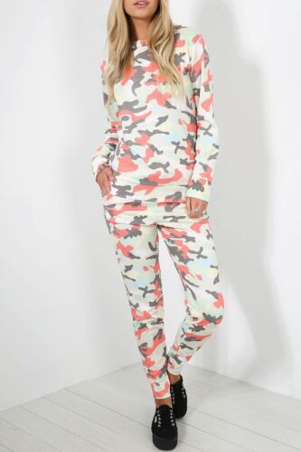 Womens Army Polo Neck Top Ladies Multi Colour Tracksuit Pocket Set Lounge Wear