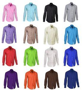 NEU-Klassisches-Designer-Business-Herrenhemd-Hemd-Normal-Fit-Gr-S-3XL-16-FARBEN