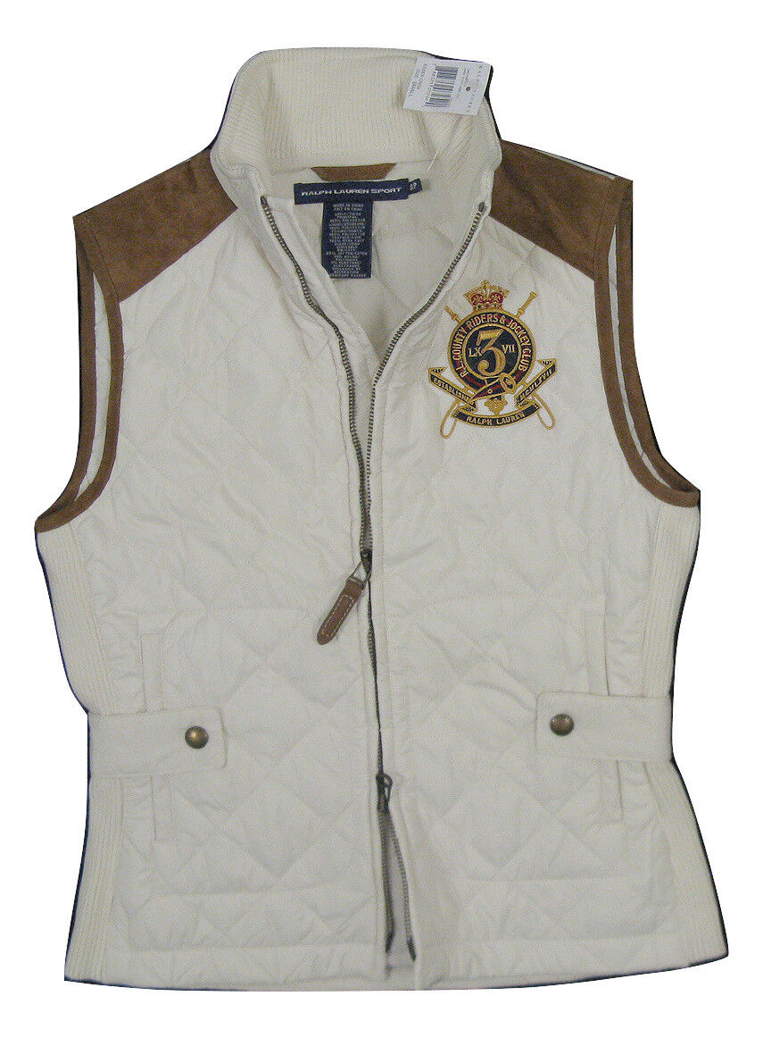 NEW  Polo Ralph Lauren Womens Quilted Vest   Suede Trim, Equestrian Embroidery