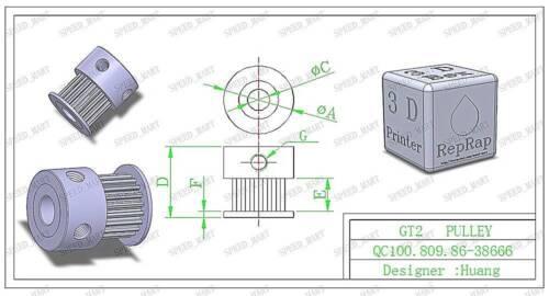 GT2 Timing Pulley Gear 20T 5mm Bore Hole for NEMA RepRap Prusa Mendel 3D Printer