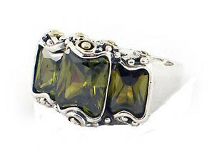 Designer-Rhodium-Sterling-Silver-Olive-Green-CZ-Cubic-Zirconia-Ring-Sz-6