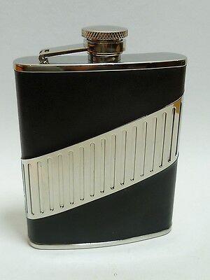Jc Flachmann Leather Black/chrome Diagonal 725603 New