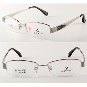 da76b183d3 Men s 100% Pure Titanium Half Rimless Eyeglass Frames Glasses Rx ...
