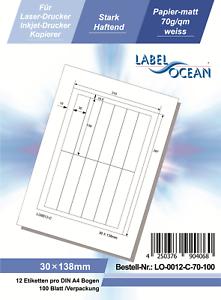 Klebeetiketten DIN A4 weiß 30x138mm (Laser Inkjet Kopierer) 100 Blatt