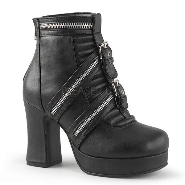 c05edfba9350 DEMONIA Women s Black Gothic Platform Chunky Heel Ankle High Boots GOT50 BVL