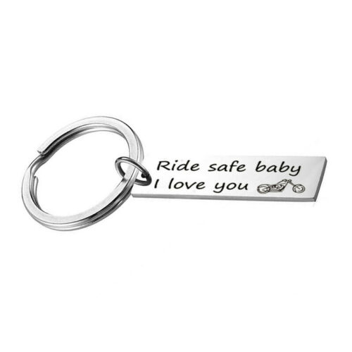 Ride Safe Biker Keychain Motorcycle Boyfriend Husband Rider Key Ring Keyring