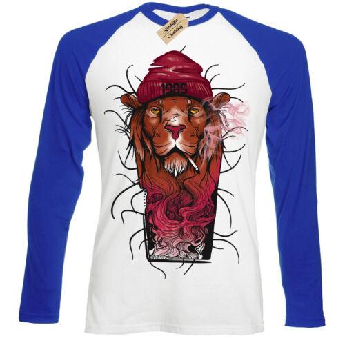 Fashion /'85 Lion T-Shirt cool smoking Mens Baseball T-Shirt