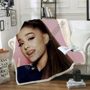star Ariana Grand 3D Print Sherpa Blanket Sofa Couch Quilt Cover throw blanket