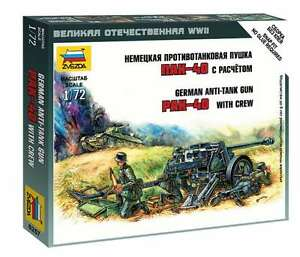 100% De Qualité Zvezda - German Anti-tank Gun Pak-40 With Crew - 1:72