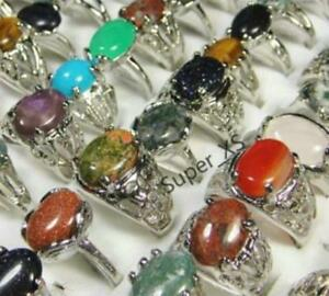 25pcs-Wholesale-MIx-Color-Nature-Stone-Alloy-Rings-Silver-Plated-Jewelry-Lots-BF