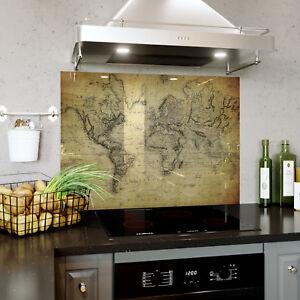 Glass Splashback Kitchen & Bathroom Panel ANY SIZE Retro Vintage Old Map 0318