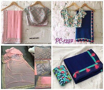 Angemessen Saree Indian Sari Designer Blouse Party Wedding Silk Wear Embroidery New Fancy Keine Kostenlosen Kosten Zu Irgendeinem Preis