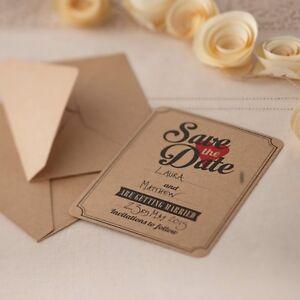 Das Bild Wird Geladen Set 10x Einladungskarten Karten Einladung Hochzeit  Geburtstag Save
