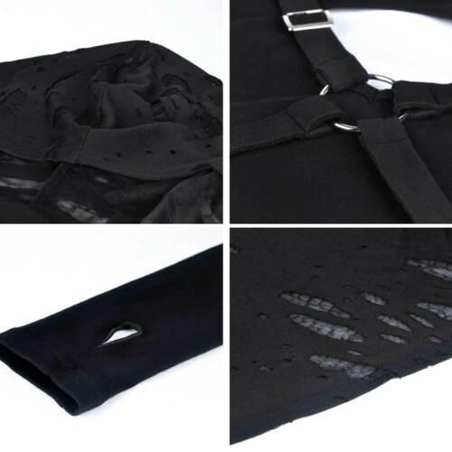 DARK IN LOVE Gothic Langarm-Shirt mit Kapuze Harness Hoodie Top Damen Schwarz