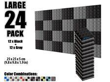 New 24 pcs 25 x 25 x 5cm Pyramid Black and Gray Acoustic Foam Tile Studio Panel