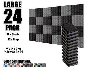 "Arrowzoom 24 pcs 9.8*9.8*1.9"" Pyramid Black & Gray Acoustic Foam Studio Panel"