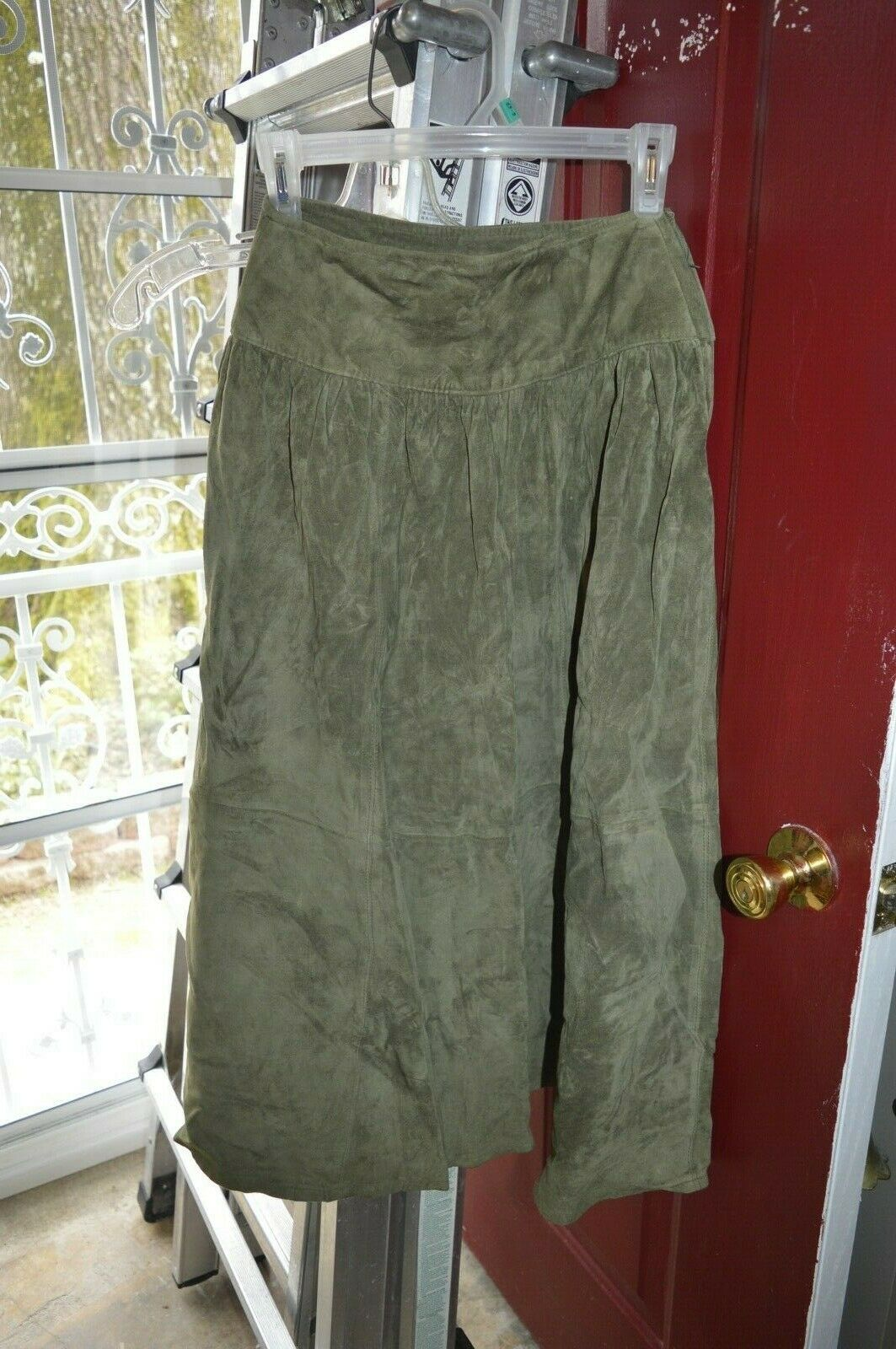 Suede leather long skirt 4