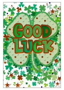 Good Luck Greetings Card, Four 4 Leafed Clover, Green With Glitter