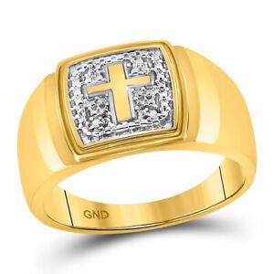 10k Gelbgold Herren Rund Diamant Kreuz Ehering .01 Cttw FüR Schnellen Versand