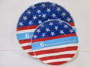 Image is loading Patriotic-4th-Of-July-Red-Blue-MELAMINE-Dinner-  sc 1 st  eBay & Patriotic 4th Of July Red Blue MELAMINE Dinner u0026 Salad Paper Plates ...