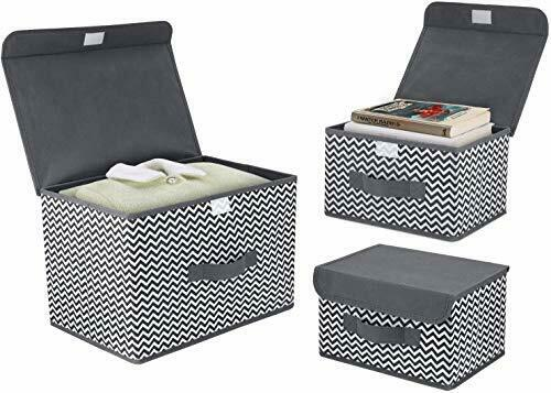 3 Pack Foldable Storage Boxes with Lids Fabric Storage Organiser Box Home Grey