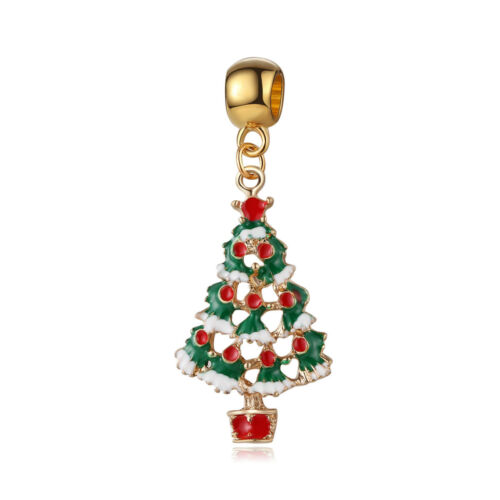 Golden Plated Charms Loose European Beads Christmas Style Pendant DIY Jewelry