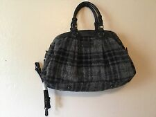 L L Bean vintage rare black and gray wool/alpaca plaid bag purse tote Large