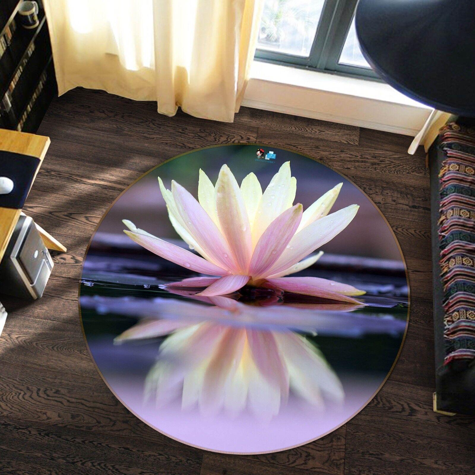 Tapis tapis 3D Lotus Rose 99 antidérapant qualité ronde tapis photo élégant