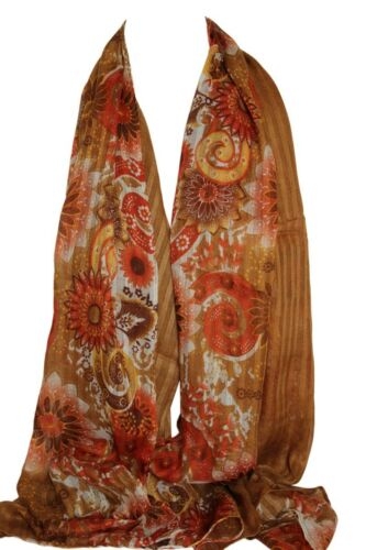 Coffee Brown Self Embossed Floral Scarf Stole Sarong Shawl Hijab Head Scarves
