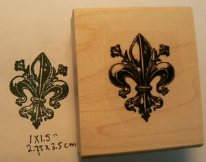 Image Is Loading P46 Fleur De Lis Rubber Stamp Wood Mounted