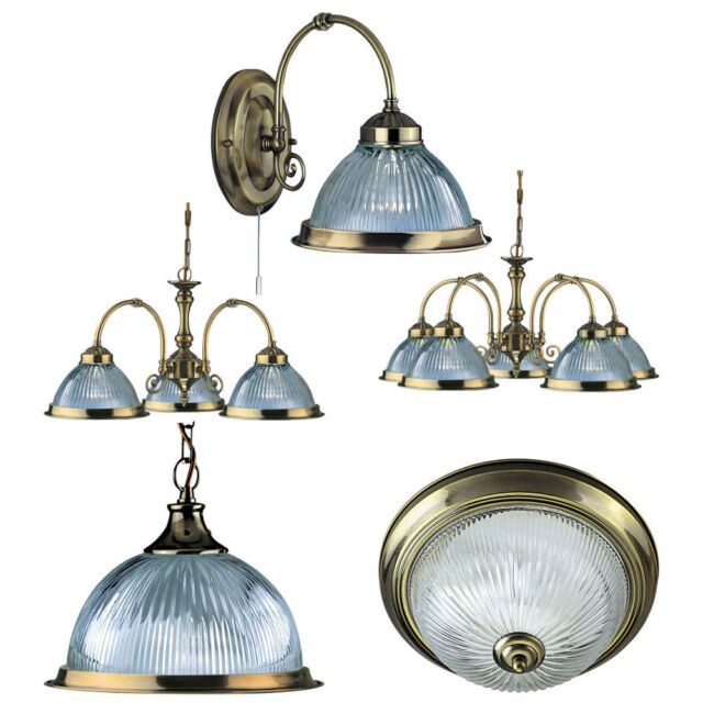 Searchlight American Diner Antique Brass and Clear Glass Lighting Range