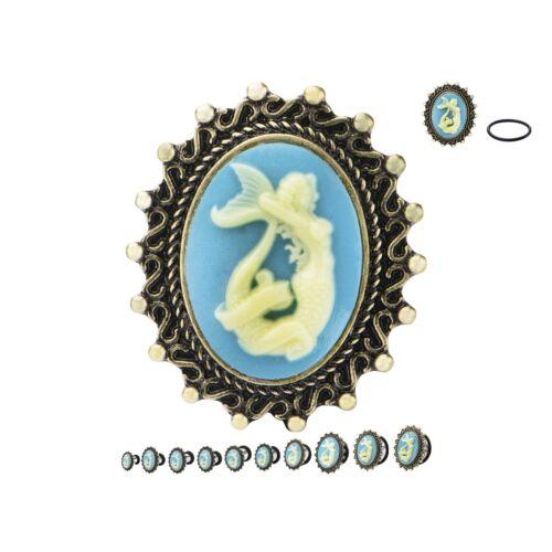 """PAIR-Mermaid Vintage Cameo Steel Single Flare Ear Plugs 14mm//9//16/"""" Gauge Body Je"""