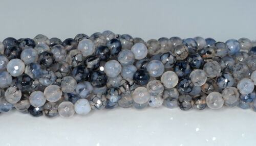 """6MM FIREWORKS CRACKLE AGATE GEMSTONE MILKY BLACK FACETED ROUND LOOSE BEADS 14.5/"""""""
