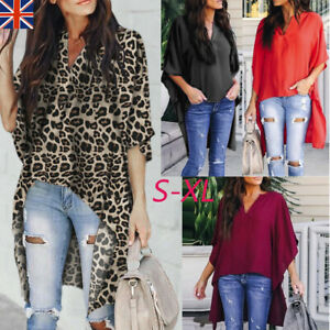 Fashion-Women-Casual-V-Neck-Irregular-Bat-Sleeve-Pure-Color-T-Shirt-Fit-Blouses