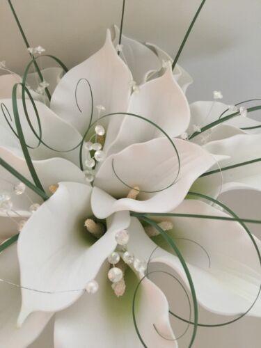 Blanc artificielle calla lily mariage mariée bouquets de fleurs strass perle brillant