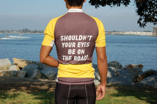 Brand-New Funny Men/'s Bicycle Jersey Shouldn/'t Your Eyes Be On The Road