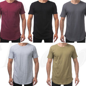 Men-T-Shirt-Hipster-Curved-Round-Hem-Muscle-Solid-Plain-Gym-Longline-Fitness-Tee