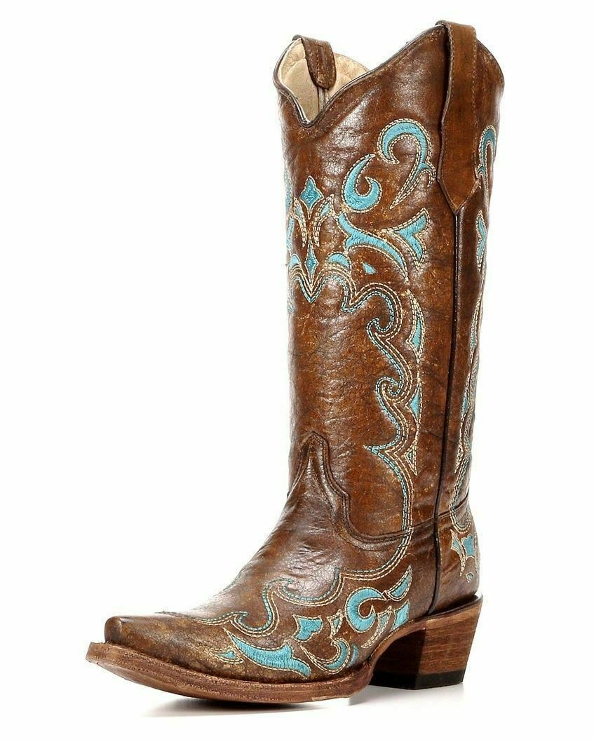Circle G By Corral Ladies 13  Snip Toe Leather Cowboy Western Boots Brown L5193