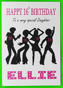 Personalised 16th birthday card disco girl female daughter niece image is loading personalised 16th birthday card disco girl female daughter bookmarktalkfo Gallery