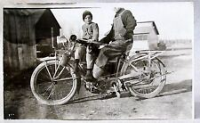 circa 1912 EXCELSIOR MOTORCYCLE w/ rear fender rack RPPC real photo postcard